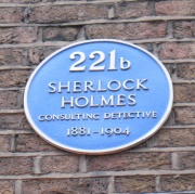 221b Baker Street. Plaque outside Sherlock Holmes Museum in London.