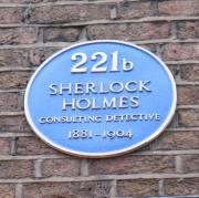 221b Baker Street. Plaque outside Sherlock Holmes Museum in London.